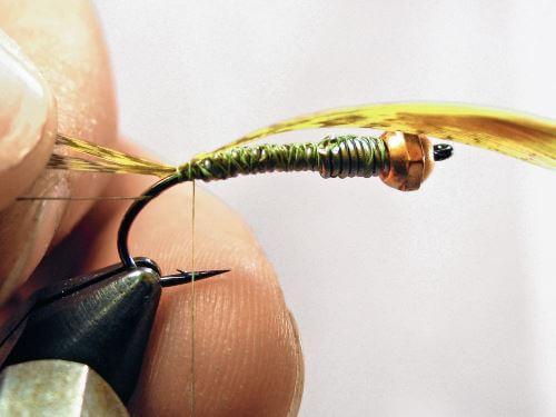 Техника вязания Мушка Big Olive Nymph