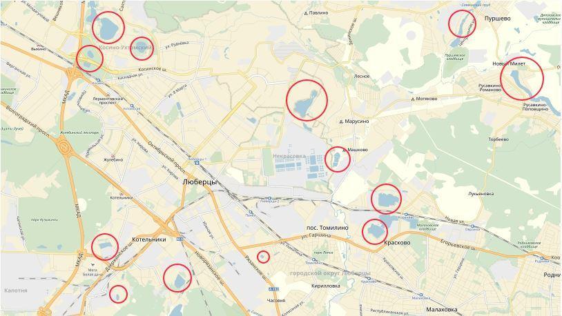 Карта рыбных мест в Люберцах