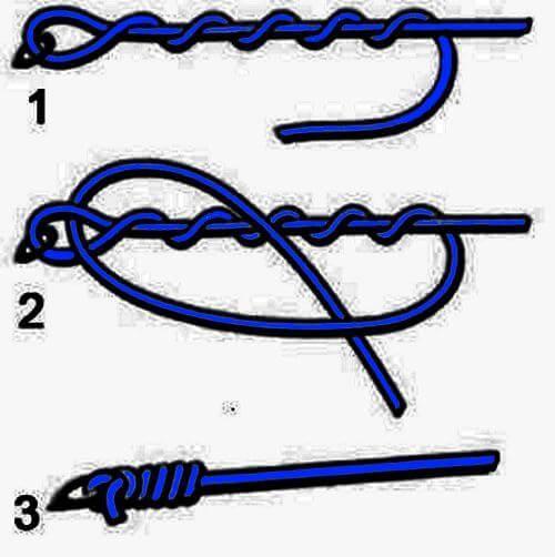 Как привязать второй крючок к леске узлом клинч