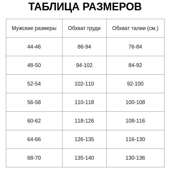 Таблица размеров костюма Горка
